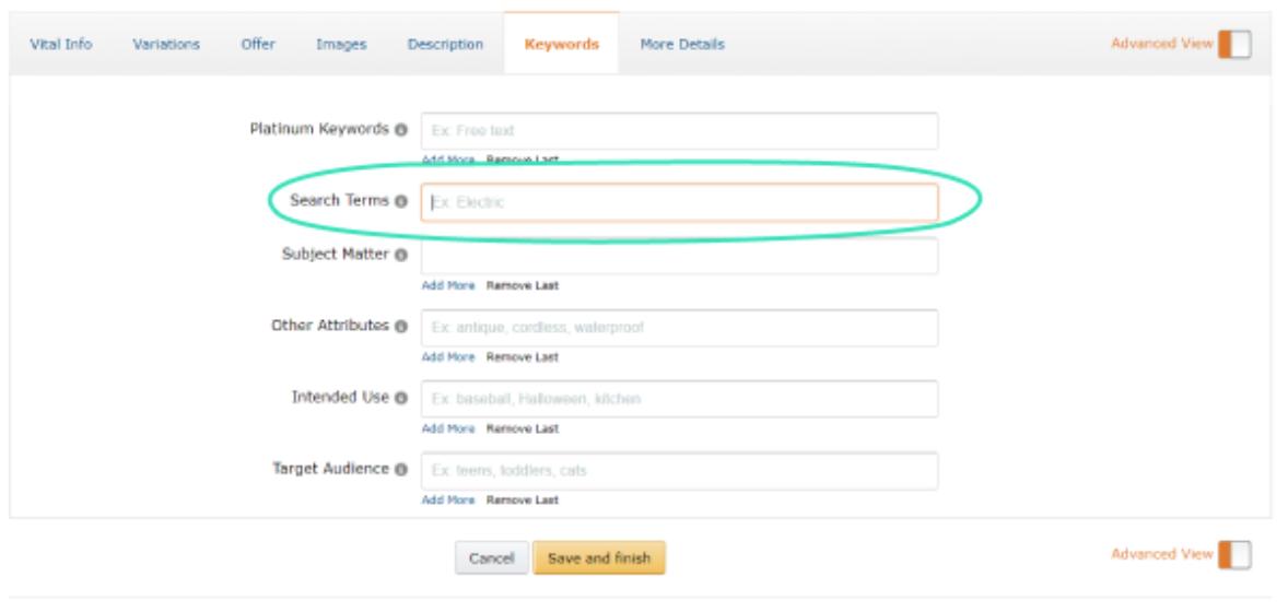 amazon search terms